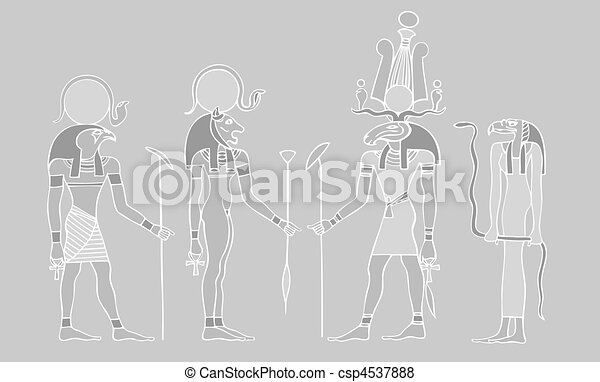 Egyptian gods and - vector - csp4537888