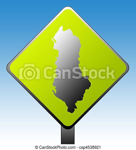 Albania road sign - csp4538921