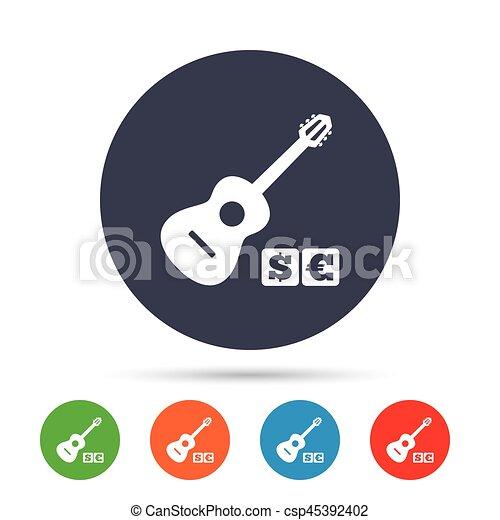 Acoustic guitar sign icon. Paid music symbol. - csp45392402