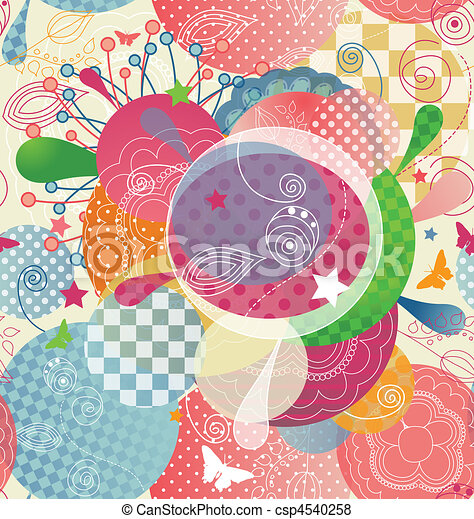 Colorful Abstract Pattern in a Modern Style with Transparency and Unseamed.  - csp4540258