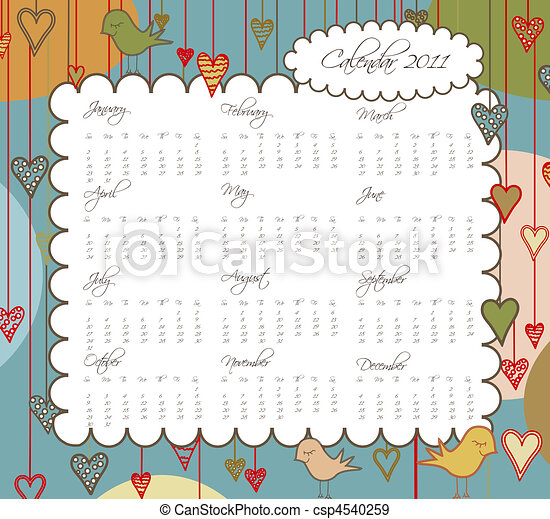 Sweet Calendar for the year 2011 with Birds and Hearts - csp4540259