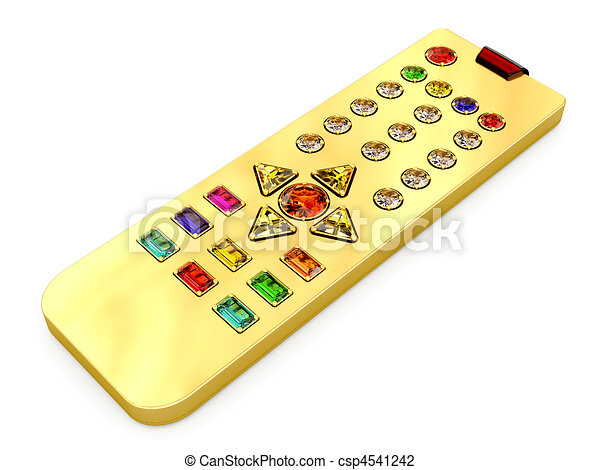 Golden universal remote control with colorful gems buttons - csp4541242