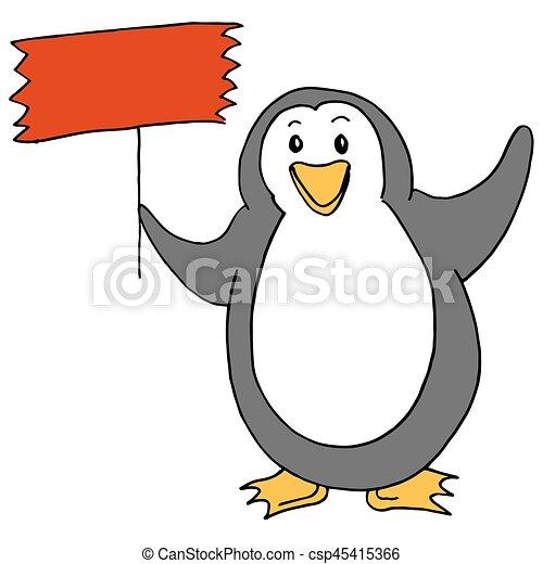 Cute Penguin Holding Sign - csp45415366