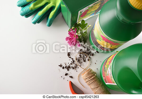 Bottles and containers of gardening products for the growth of plants on white table. With flowers and plants of decoration. Top view. Horizontal composition