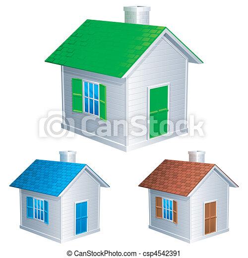 Clipart vettoriali di casa icone tre poco case con for Piani di casa rotondi gratis