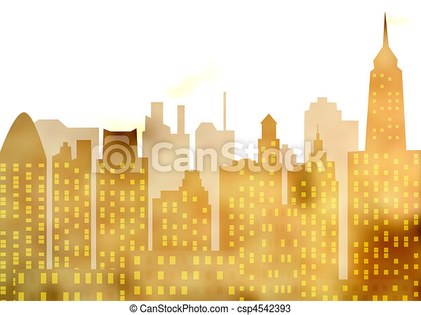 Image of the panorama of modern town - skyscrapers - high-clearance buildings - metropolis of recent time - csp4542393