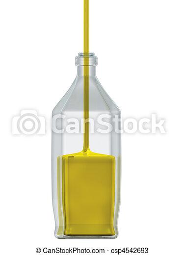 vidro, garrafa, enchido, óleo - csp4542693
