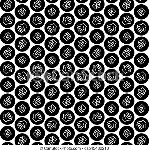 rock paper scissors in black circle pattern black and white color csp45432210