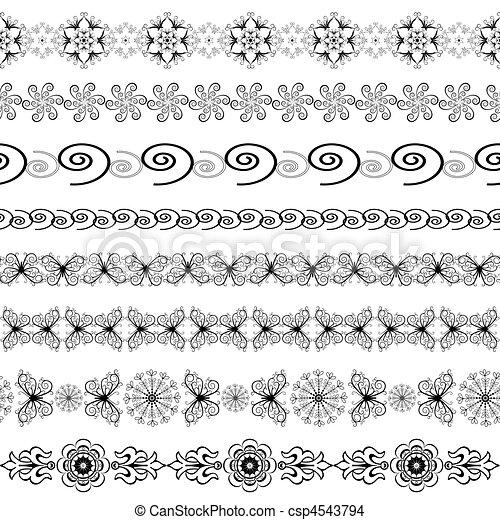Black and white seamless borders  - csp4543794