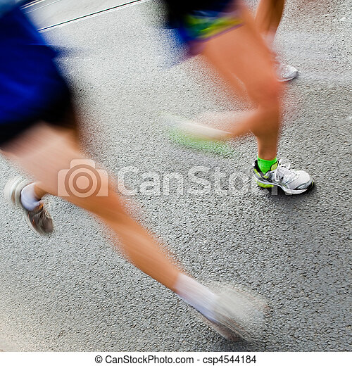 People running in city marathon  - csp4544184