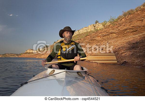 canoe paddling in Colorado - csp4544521