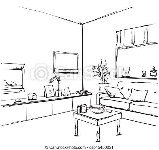 Stuhl gezeichnet  Vektoren von zimmer, hand, fenster, inneneinrichtung, gezeichnet ...