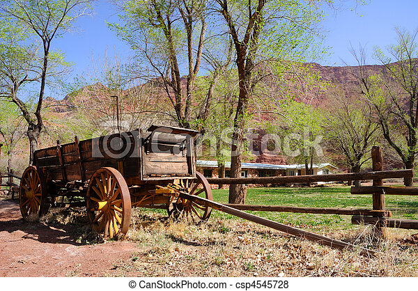 Historic Wagon at Lonely Dell Ranch  - csp4545728