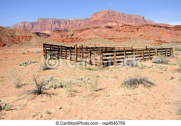 Historic Corral at Lonely Dell Ranch  - csp4545759