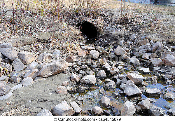 Storm Water Drain carrying Spring Runoff  - csp4545879