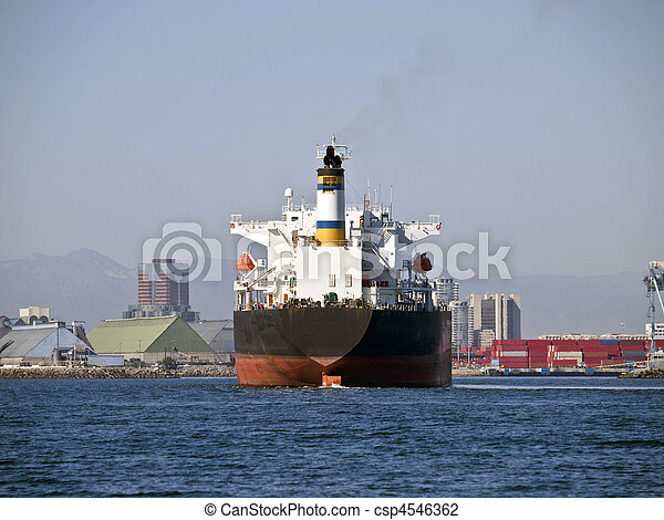 Giant Oil Tanker in Long Beach California - csp4546362