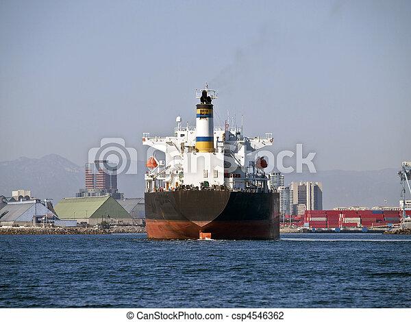 Giant Oil Tanker in Long Beach California - csp4546362