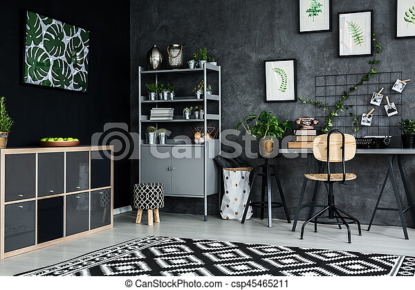 Studio flat with plants and modern furniture