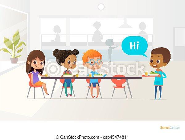 Tisch schule clipart  EPS Vektor von tisch, haben, mahlzeit, kinder - Children, haben ...