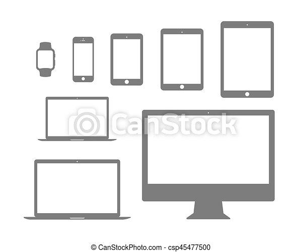 beweeglijk,  Set, plat,  tablet, horloge, draagbare computer,  Computer, pictogram - csp45477500