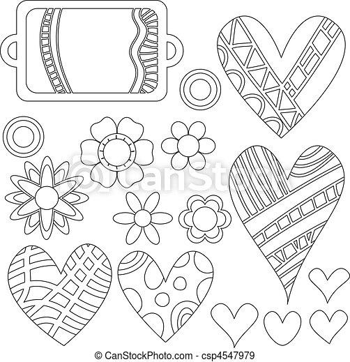 EPS vectores de negro, blanco, etiquetas, flores, Corazones ...