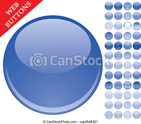 Set of 49 blue glass buttons, glossy icons, web spheres, vector illustration - csp4548421