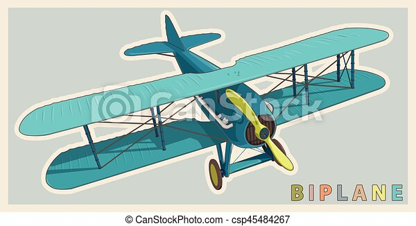 Blue biplane in vintage and color stylization. Model aircraft propeller. - csp45484267