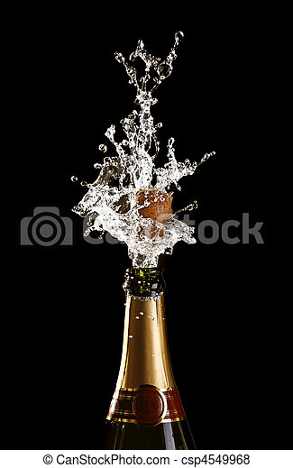 shooting cork champagne bottle - csp4549968