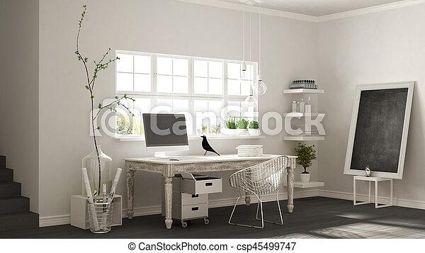 Home workplace, scandinavian house room corner office, classic minimalist interior design