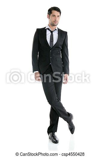 Fashion full length elegant young black suit man - csp4550428
