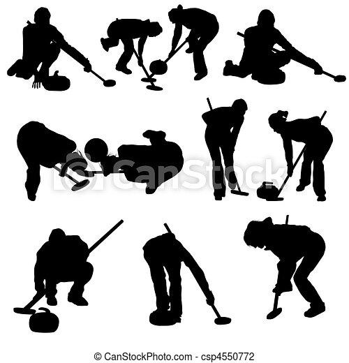 curling silhouette set - csp4550772