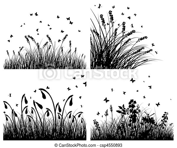 set of grass silhouettes - csp4550893