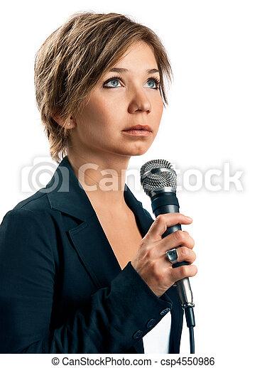 TV Correspondent on white background - csp4550986