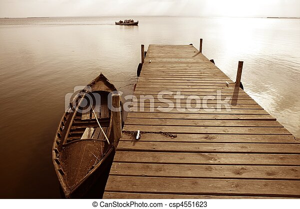 Albufera lake wetlands pier in Valencia Spain - csp4551623