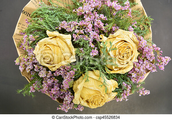 Bouquet of dried roses and dried flowers