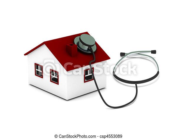 illustration de maison diagnostic maison st thoscope isol sur csp4553089. Black Bedroom Furniture Sets. Home Design Ideas