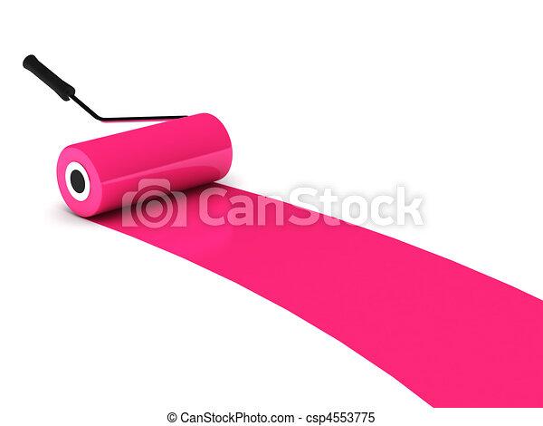 Stock illustraties van roze verf rol vrijstaand witte achtergrond hoog csp4553775 - Hoe roze verf ...