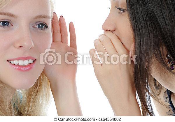 Two beautiful women telling secret - csp4554802