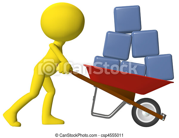 Person moving data cubes boxes wheelbarrow - csp4555011