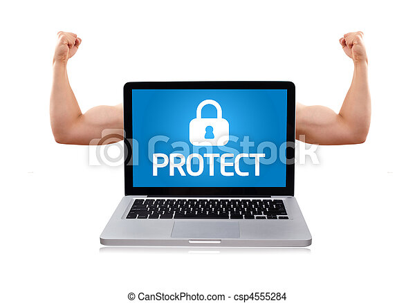 Laptop with protect sign and muscular biceps - csp4555284