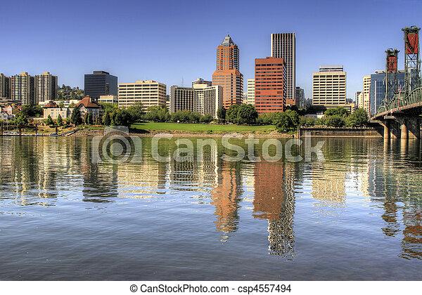 Portland Oregon Downtown Skyline Reflection - csp4557494