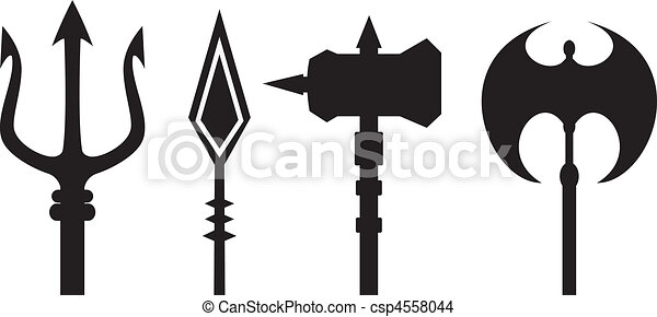 ancient weapons outline vector - csp4558044