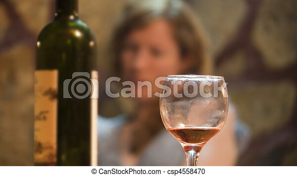 Young drunk woman drinking wine - csp4558470