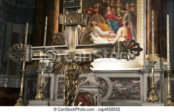 Jesus crucifix near alter in church - csp4558555