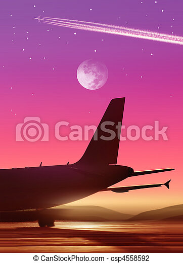 airport in bright of the moon - csp4558592