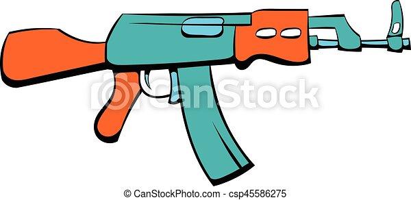Kalashnikov assault rifle icon cartoon - csp45586275