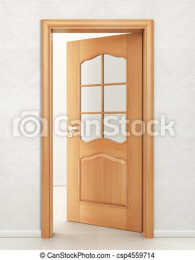 Door wood with glass - csp4559714