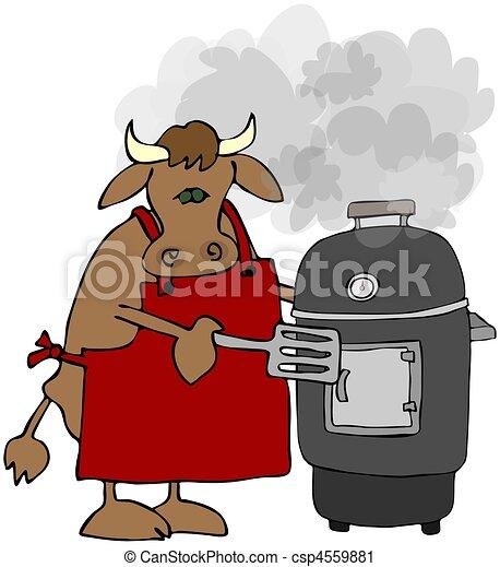 grill, kochen, raucher, kuh - csp4559881