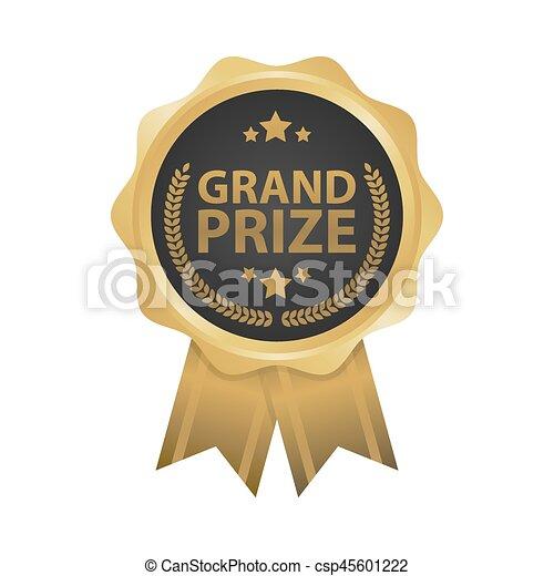 Grand prize win gold badges vector illustration - csp45601222