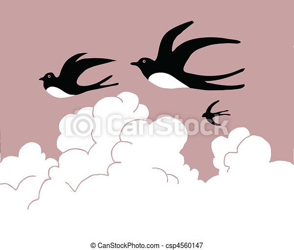 vector drawing swallow flying to cloudy sky - csp4560147